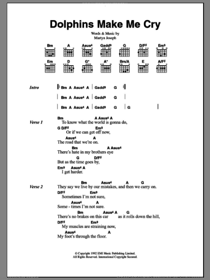 Dolphins Make Me Cry sheet music for guitar (chords) by Martyn Joseph, intermediate skill level