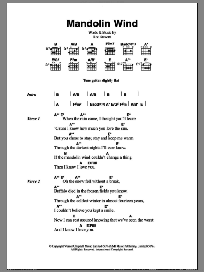 Mandolin Wind sheet music for guitar (chords) by Rod Stewart, intermediate. Score Image Preview.