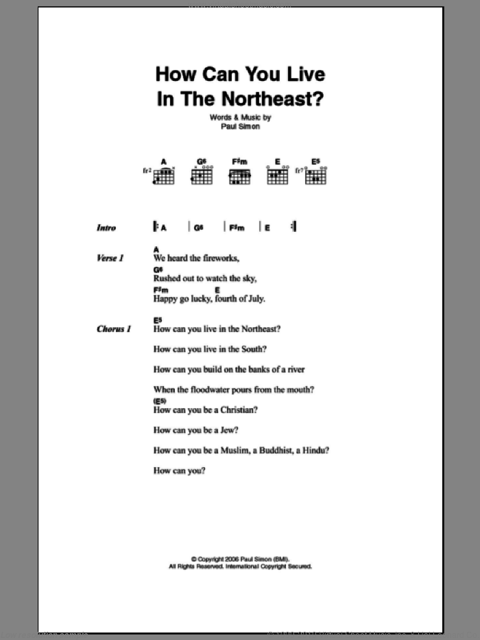 How Can You Live In The Northeast sheet music for guitar (chords) by Paul Simon, intermediate. Score Image Preview.