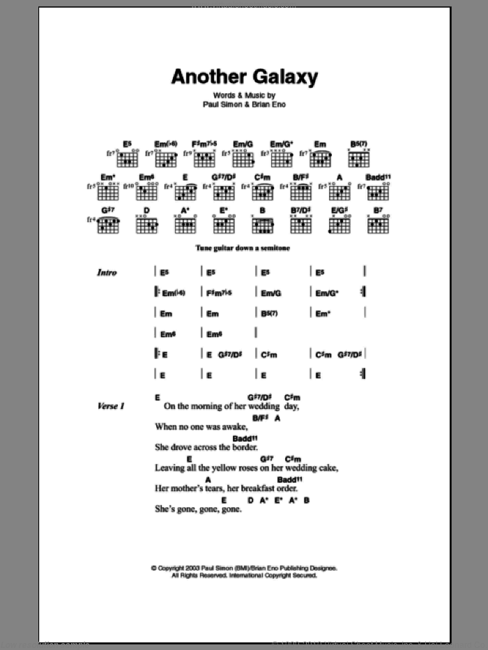 Another Galaxy sheet music for guitar (chords) by Paul Simon and Brian Eno. Score Image Preview.