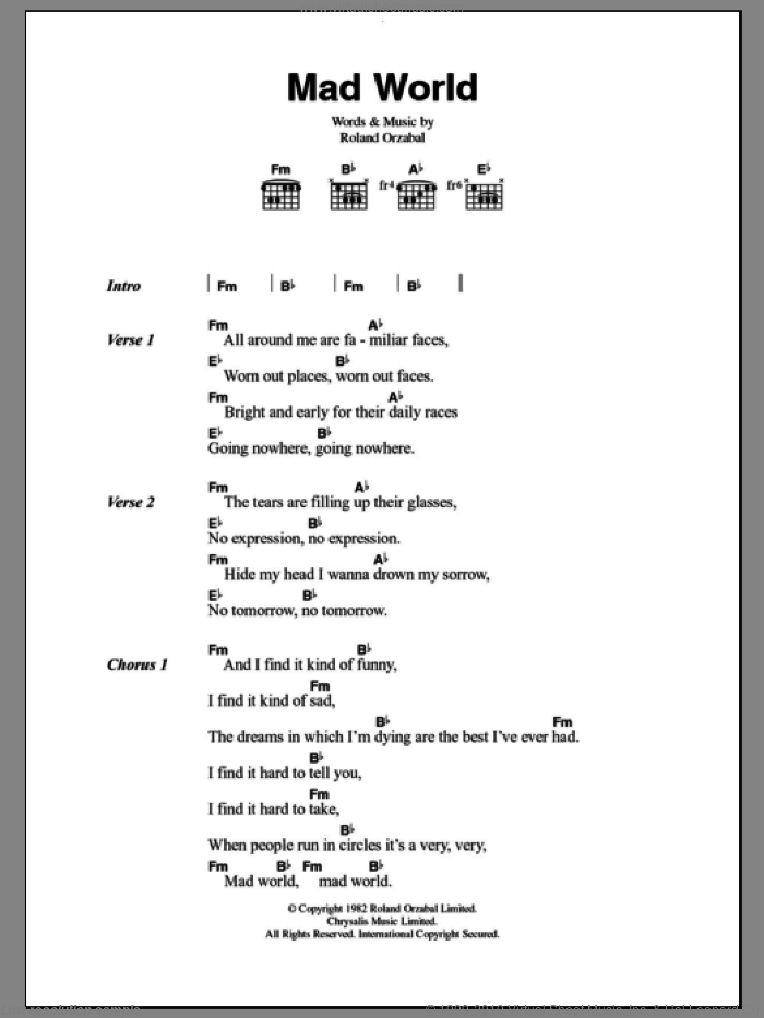 Mad World sheet music for guitar (chords) by Tears For Fears. Score Image Preview.