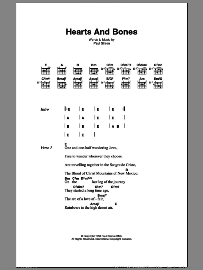 Hearts And Bones sheet music for guitar (chords) by Paul Simon, intermediate guitar (chords). Score Image Preview.