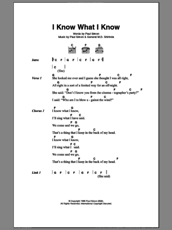 I Know What I Know sheet music for guitar (chords) by General M.D. Shirinda and Paul Simon. Score Image Preview.