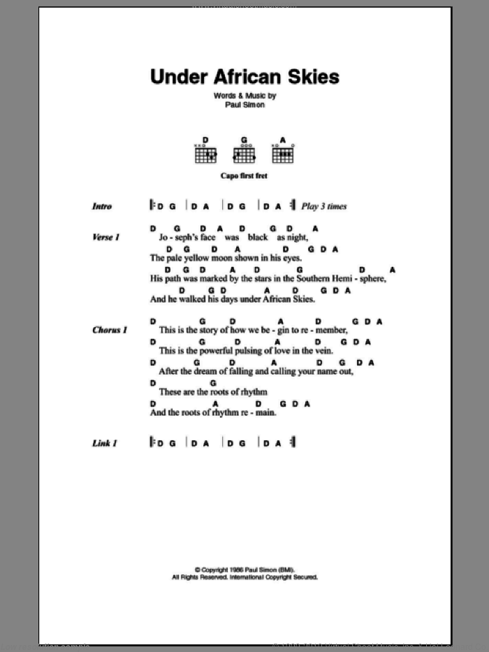 Under African Skies sheet music for guitar (chords) by Paul Simon. Score Image Preview.