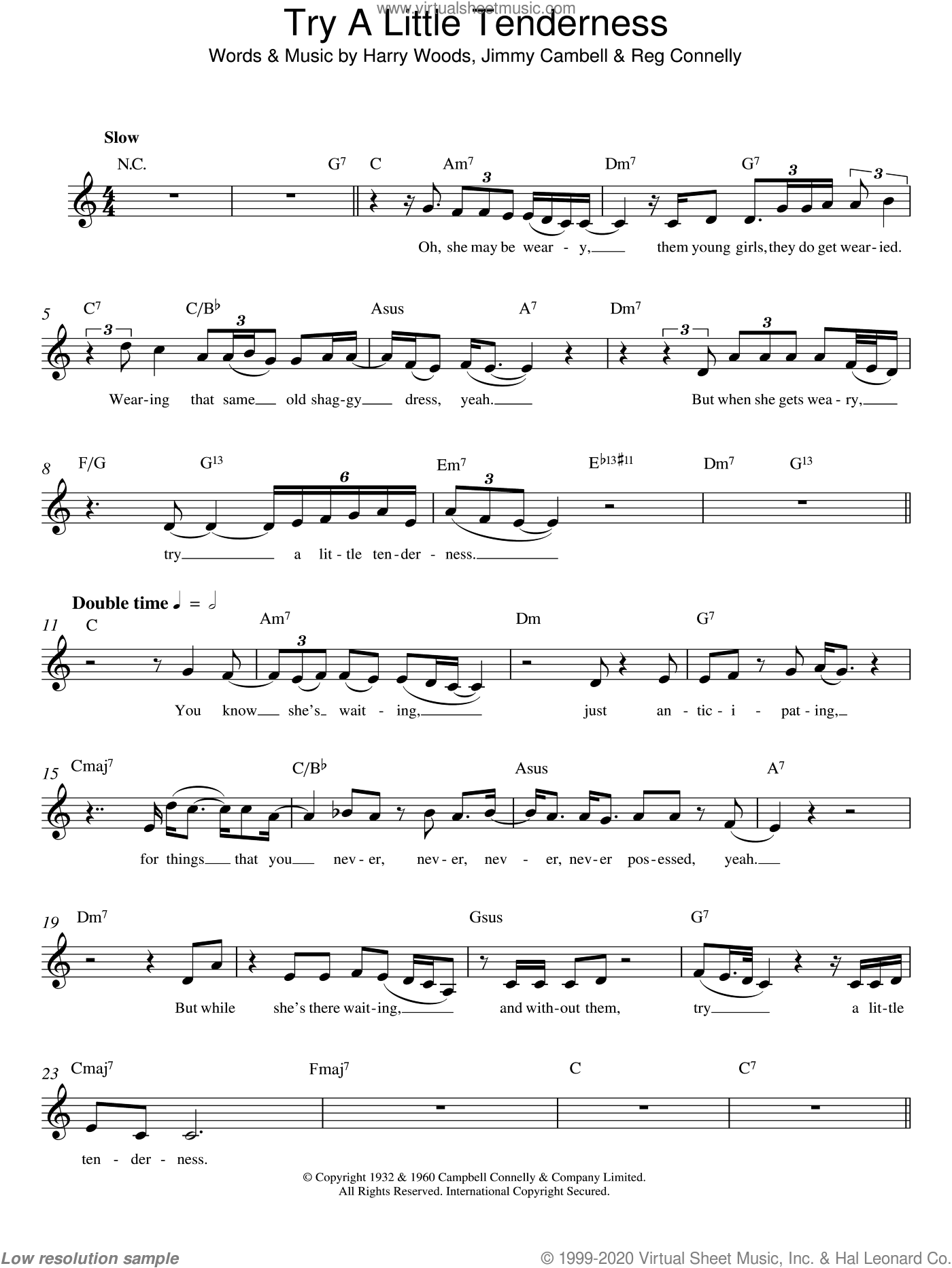 Try A Little Tenderness sheet music for voice and other instruments (fake book) by Otis Redding, Harry Woods, Jimmy Campbell and Reg Connelly, intermediate voice. Score Image Preview.