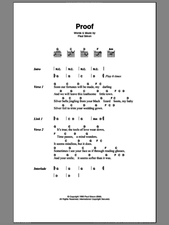 Proof sheet music for guitar (chords) by Paul Simon