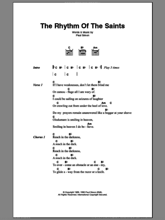 The Rhythm Of The Saints sheet music for guitar (chords) by Paul Simon, intermediate