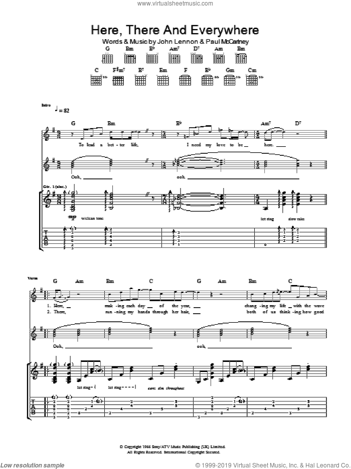 Here, There And Everywhere sheet music for guitar (tablature) by Paul McCartney