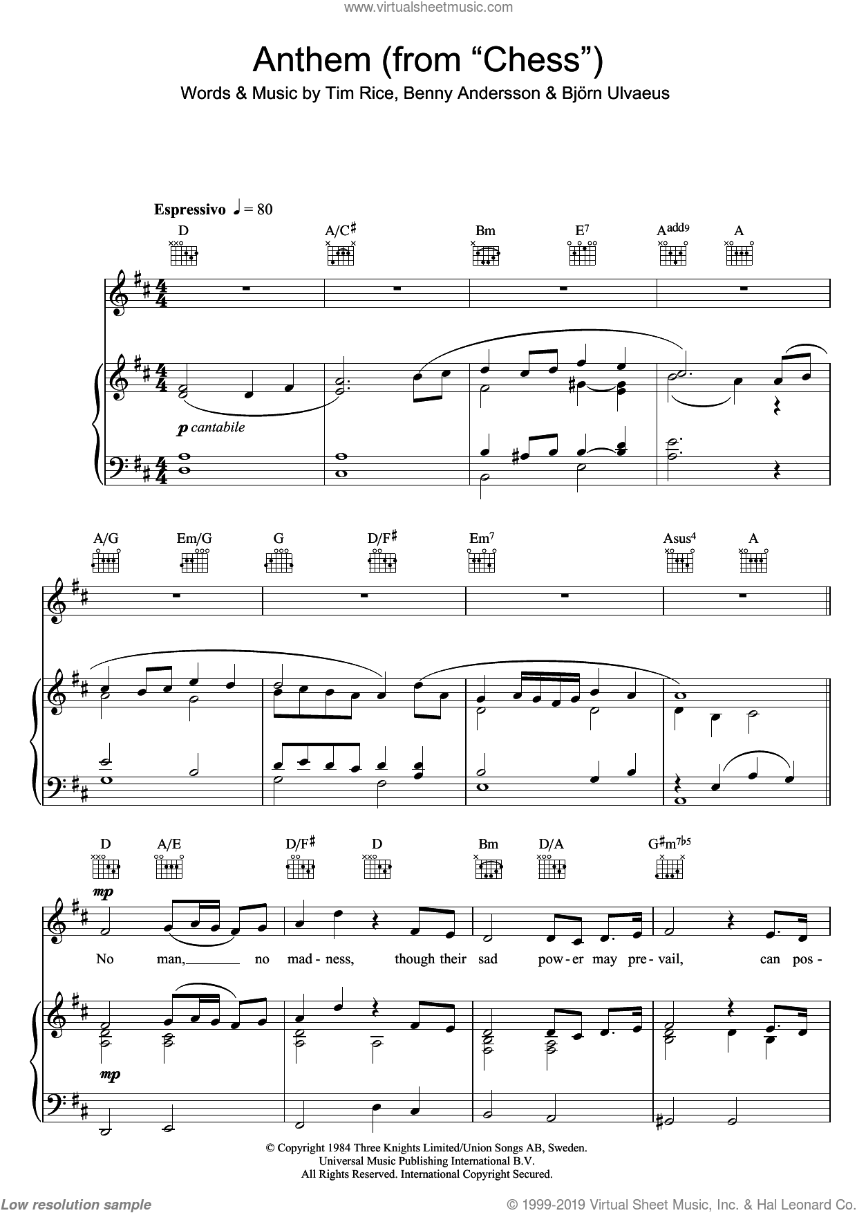 Anthem (from Chess) sheet music for voice, piano or guitar by Rhydian, Benny Andersson, Bjorn Ulvaeus, Miscellaneous and Tim Rice, intermediate skill level