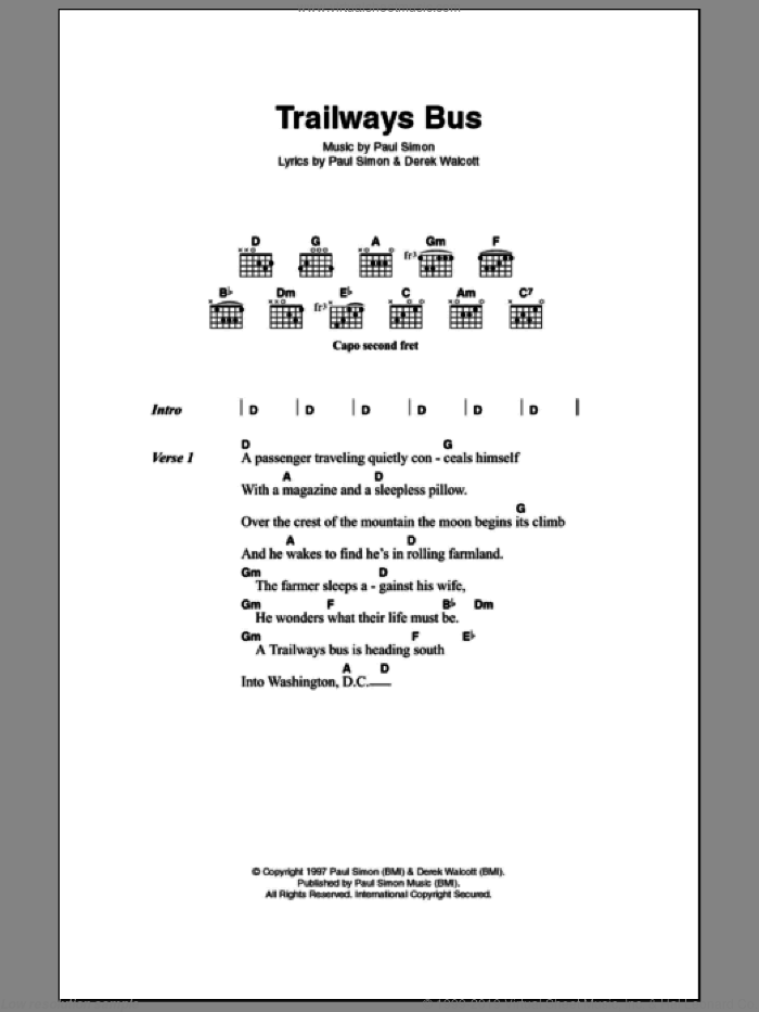 Trailways Bus sheet music for guitar (chords, lyrics, melody) by Derek Walcott
