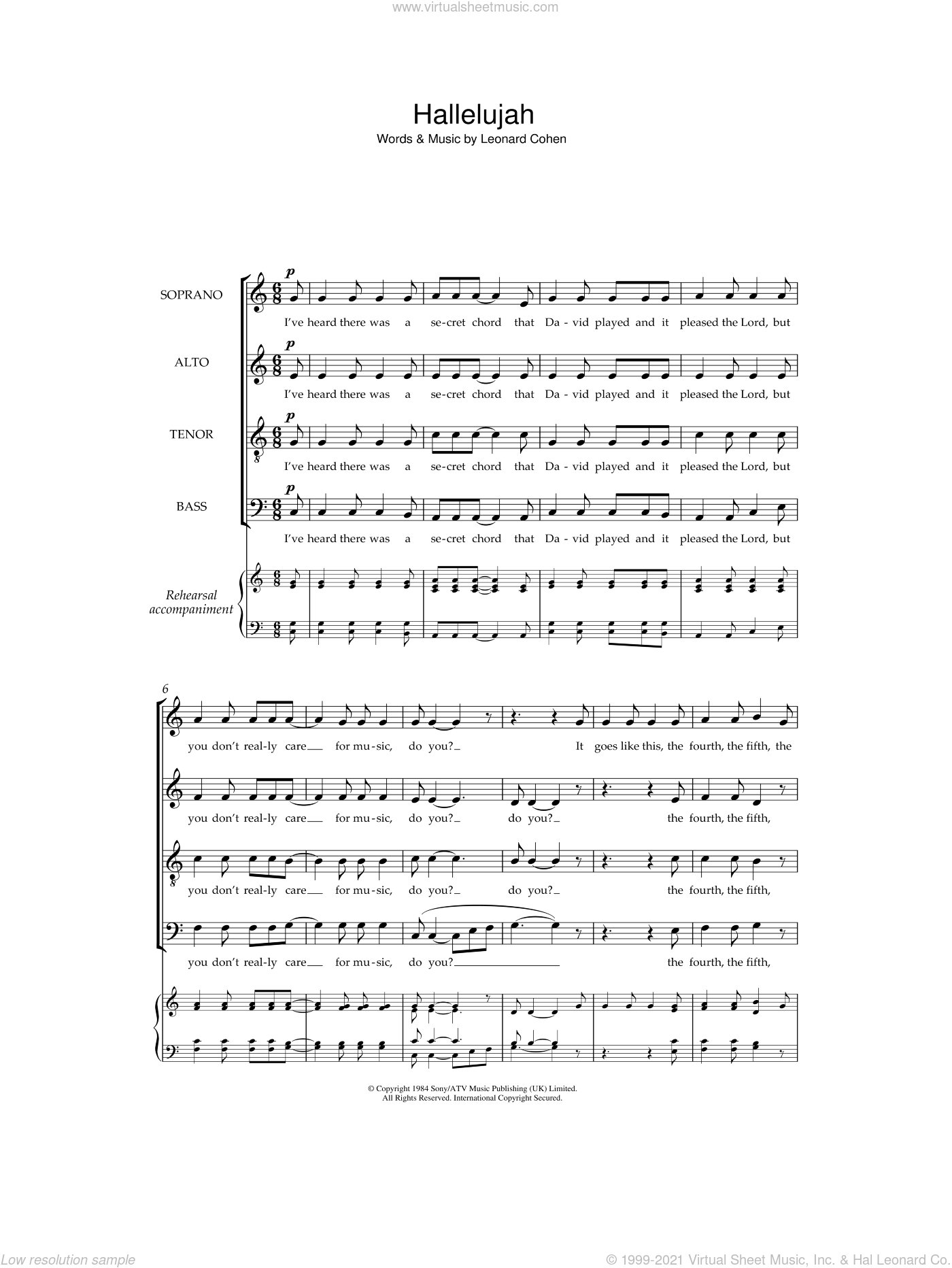 Hallelujah sheet music for choir and piano (SATB) by Leonard Cohen