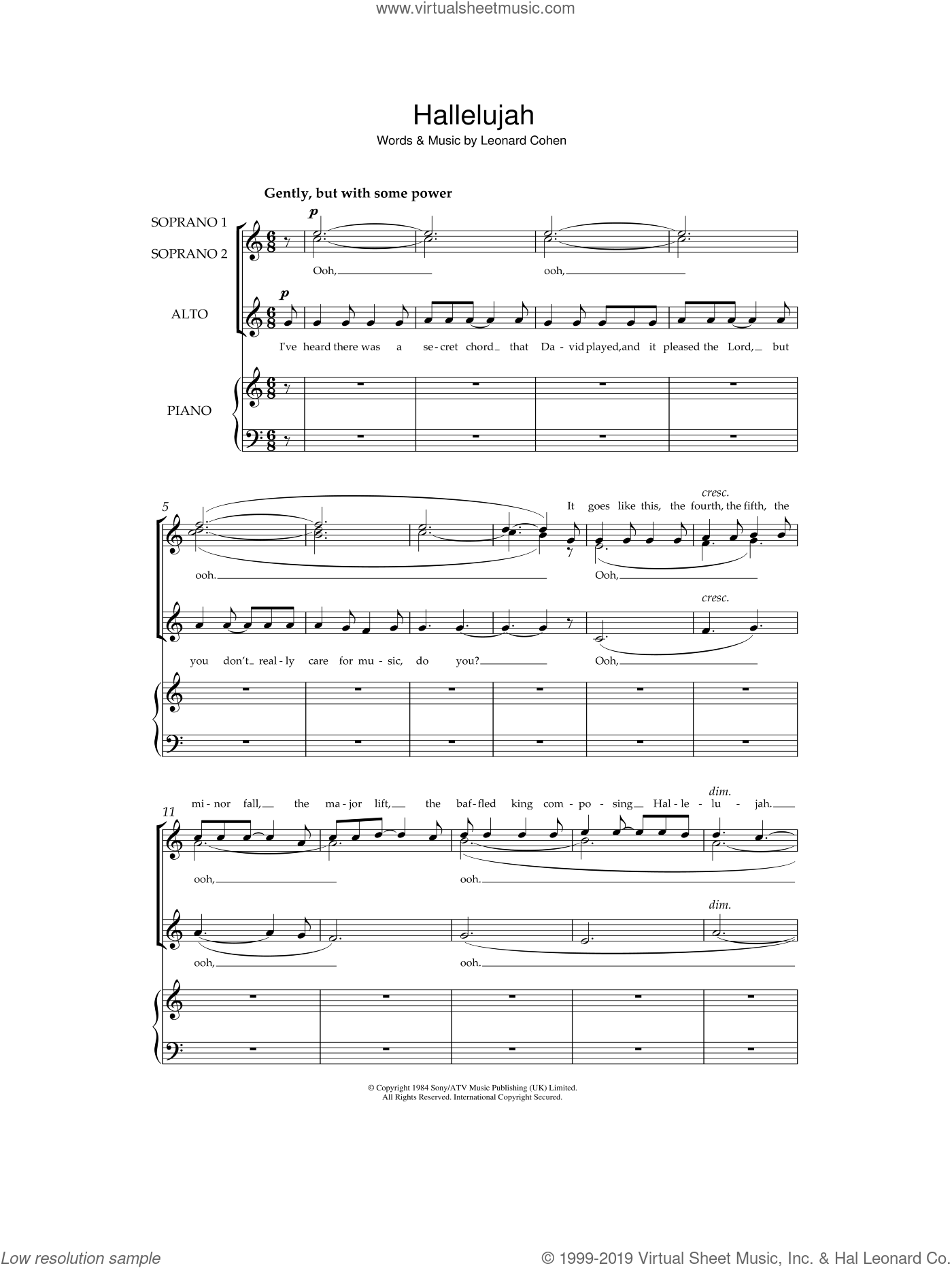 Hallelujah sheet music for choir (SSA: soprano, alto) by Leonard Cohen, intermediate skill level