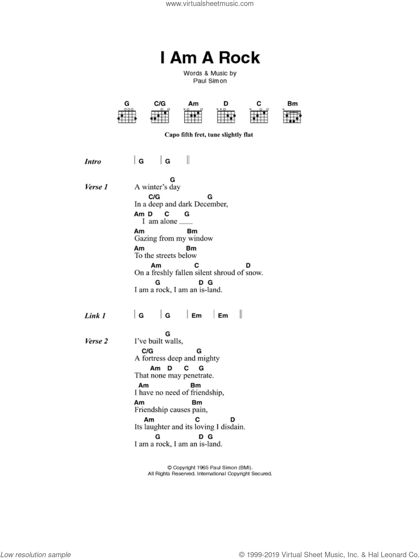 I Am A Rock sheet music for guitar (chords) by Paul Simon and Simon & Garfunkel. Score Image Preview.