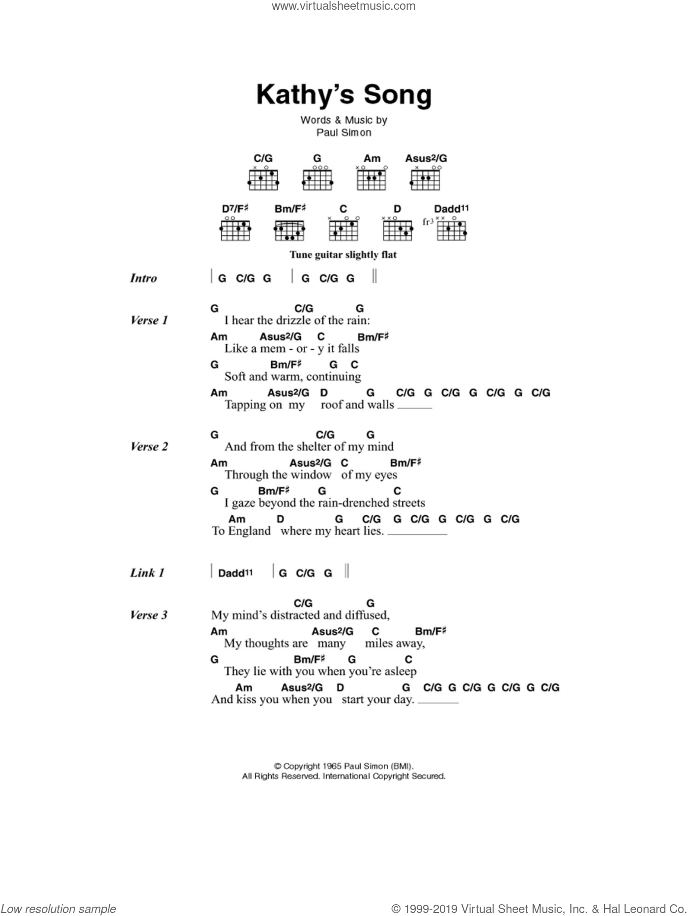 Garfunkel - Kathy\'s Song sheet music for guitar (chords) [PDF]