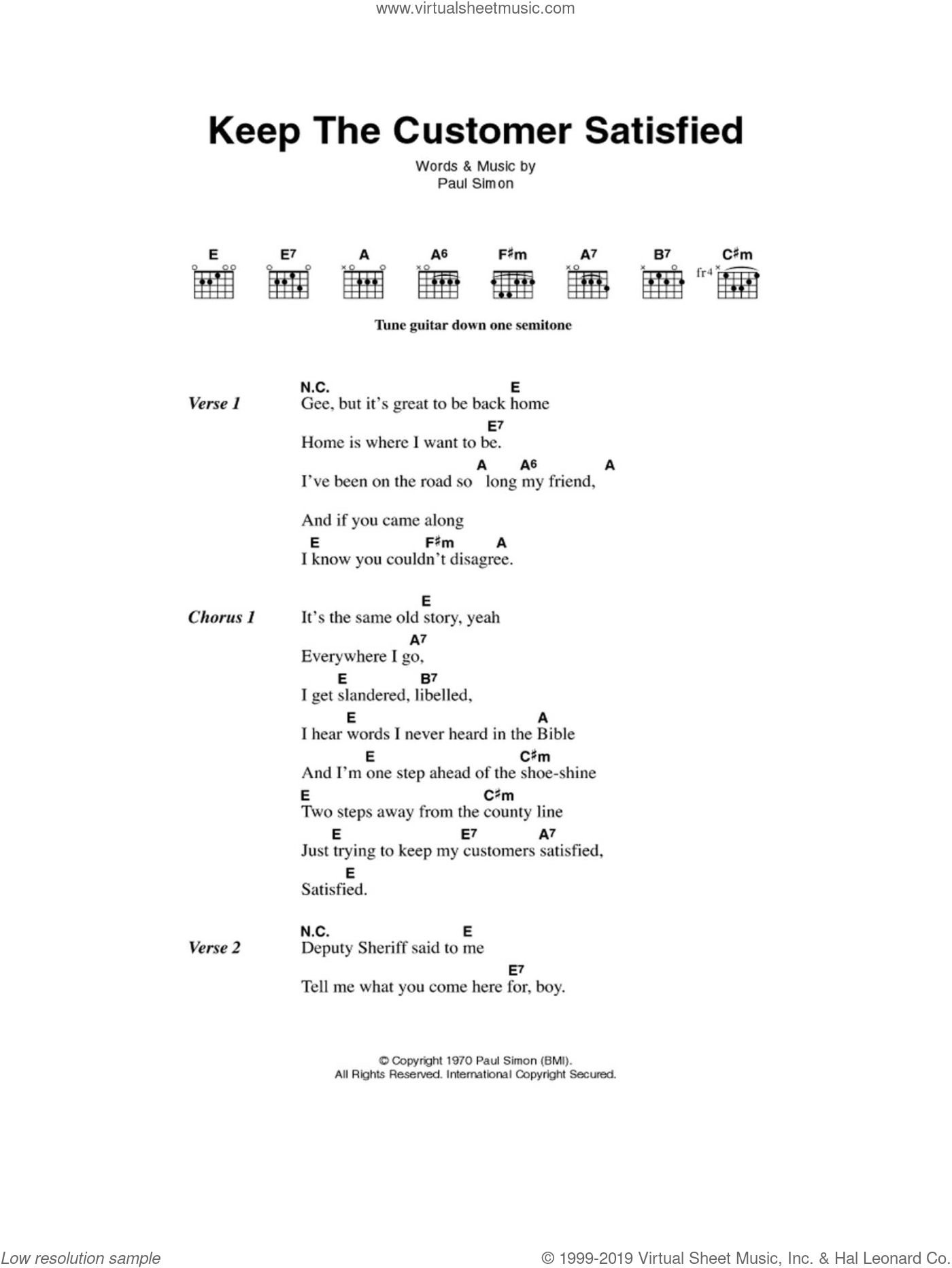 Keep The Customer Satisfied sheet music for guitar (chords) by Simon & Garfunkel and Paul Simon, intermediate. Score Image Preview.