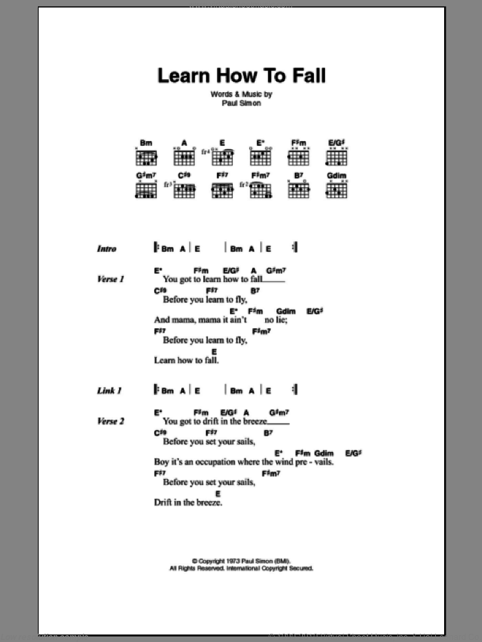 Learn How To Fall sheet music for guitar (chords) by Paul Simon. Score Image Preview.