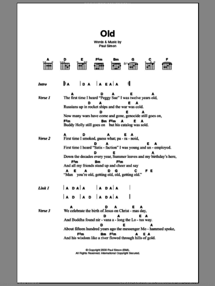 Old sheet music for guitar (chords) by Paul Simon. Score Image Preview.