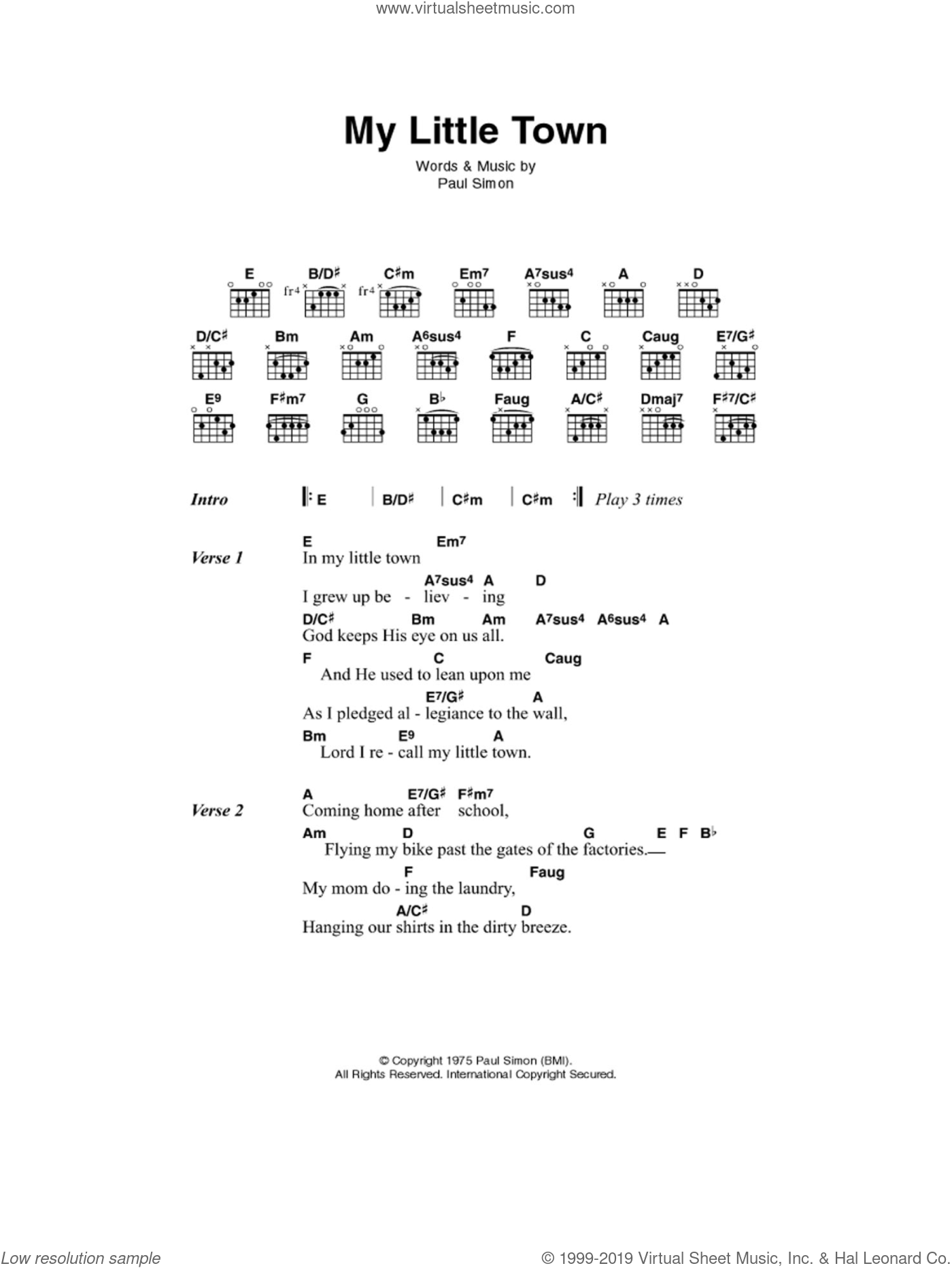 Simon - My Little Town sheet music for guitar (chords) [PDF]