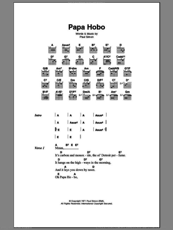 Papa Hobo sheet music for guitar (chords) by Paul Simon