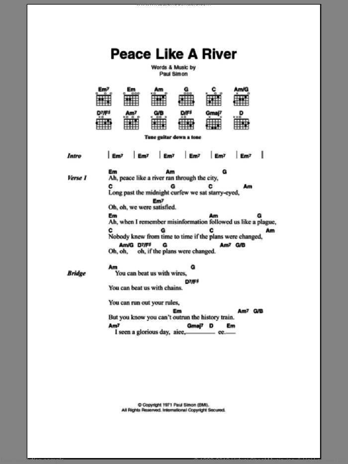 Simon - Peace Like A River sheet music for guitar (chords) [PDF]