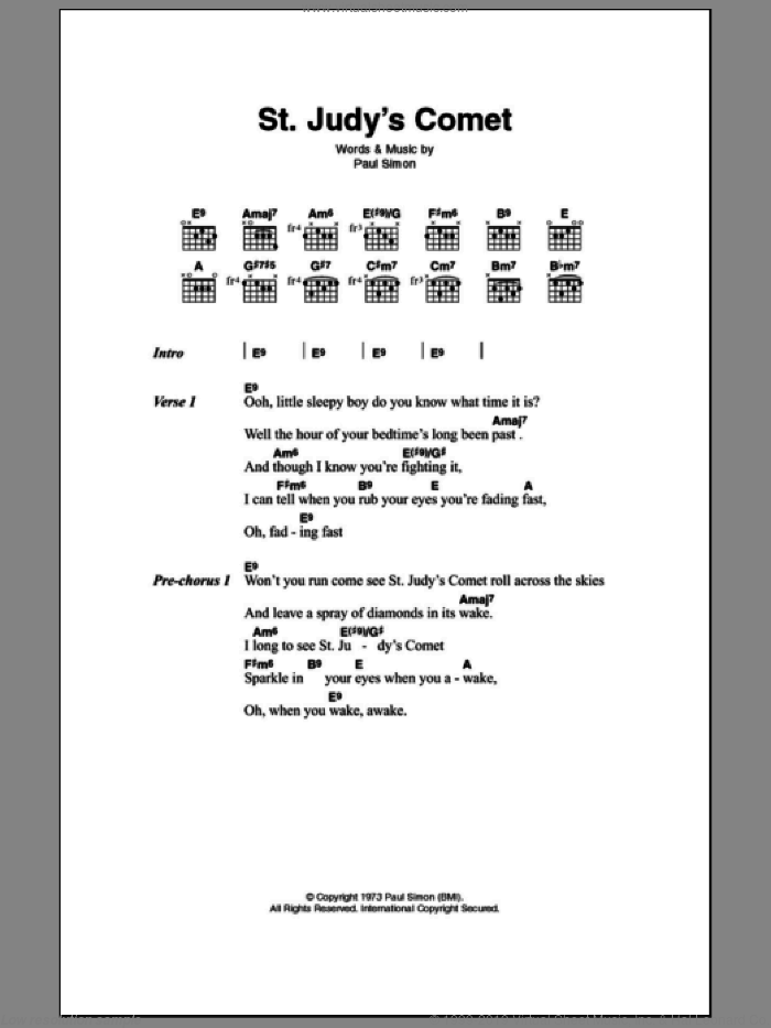 St. Judy's Comet sheet music for guitar (chords) by Paul Simon, intermediate. Score Image Preview.