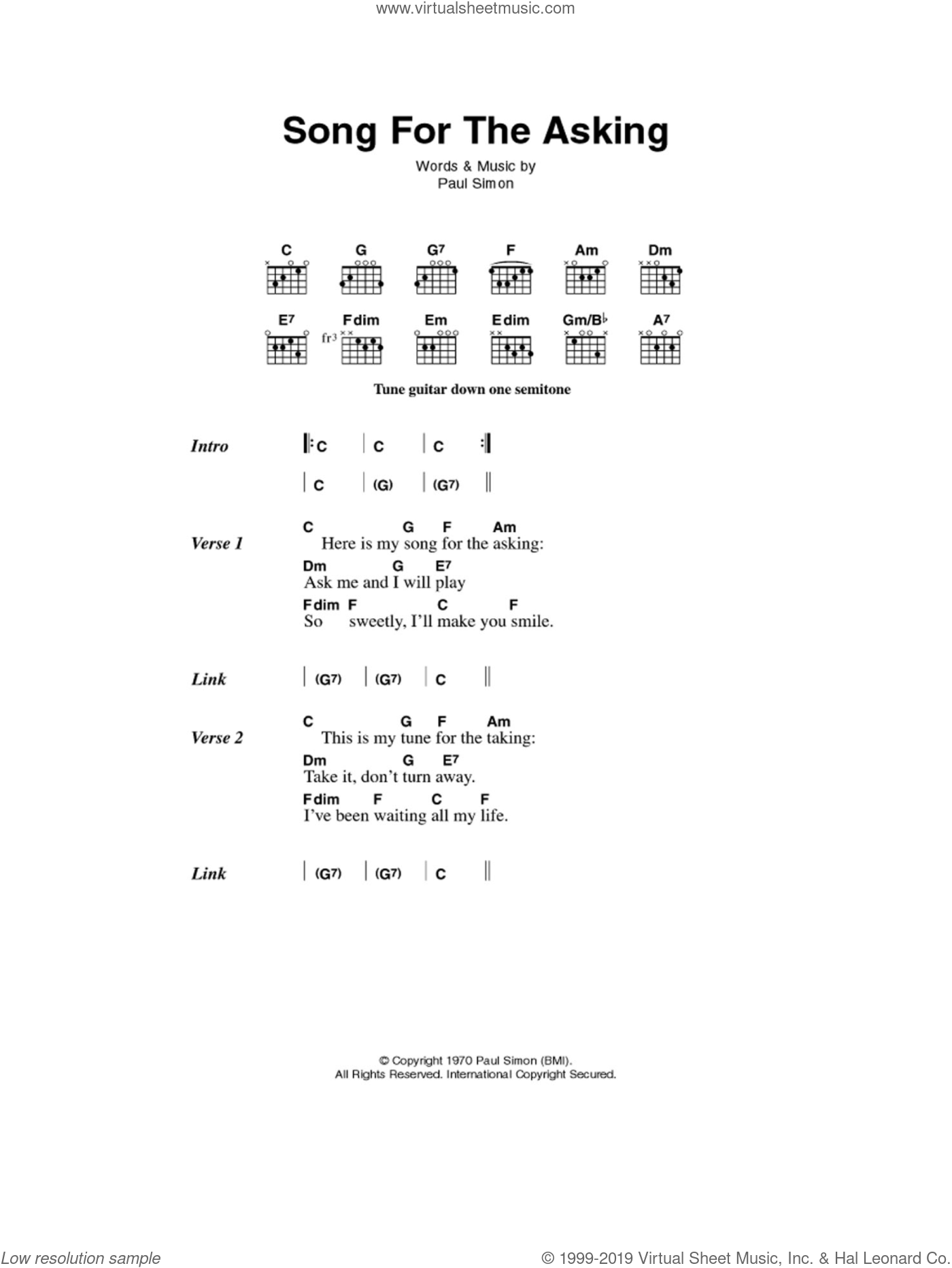 Song For The Asking sheet music for guitar (chords) by Paul Simon and Simon & Garfunkel. Score Image Preview.