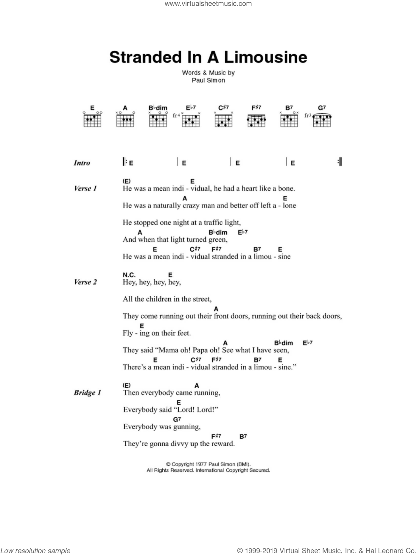 Simon - Stranded In A Limousine sheet music for guitar (chords)