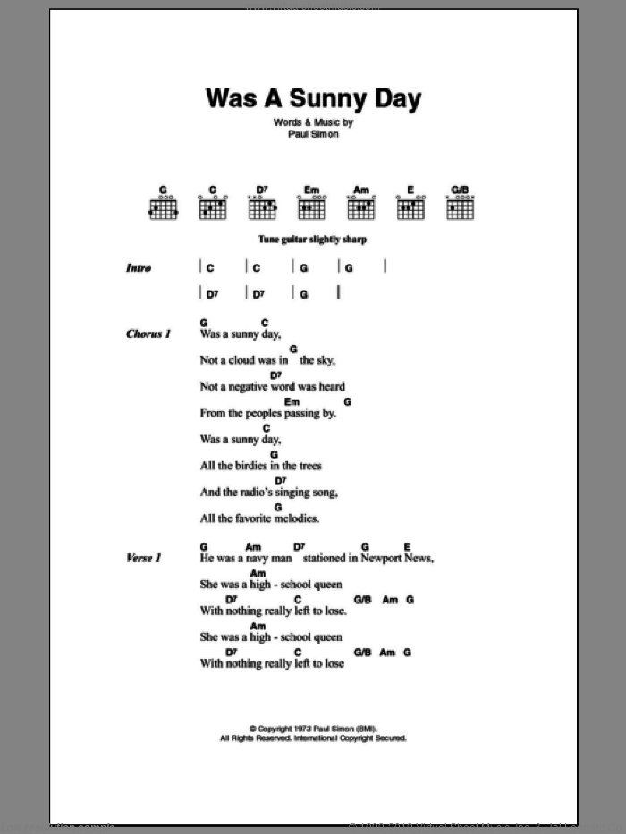 Was A Sunny Day sheet music for guitar (chords) by Paul Simon. Score Image Preview.