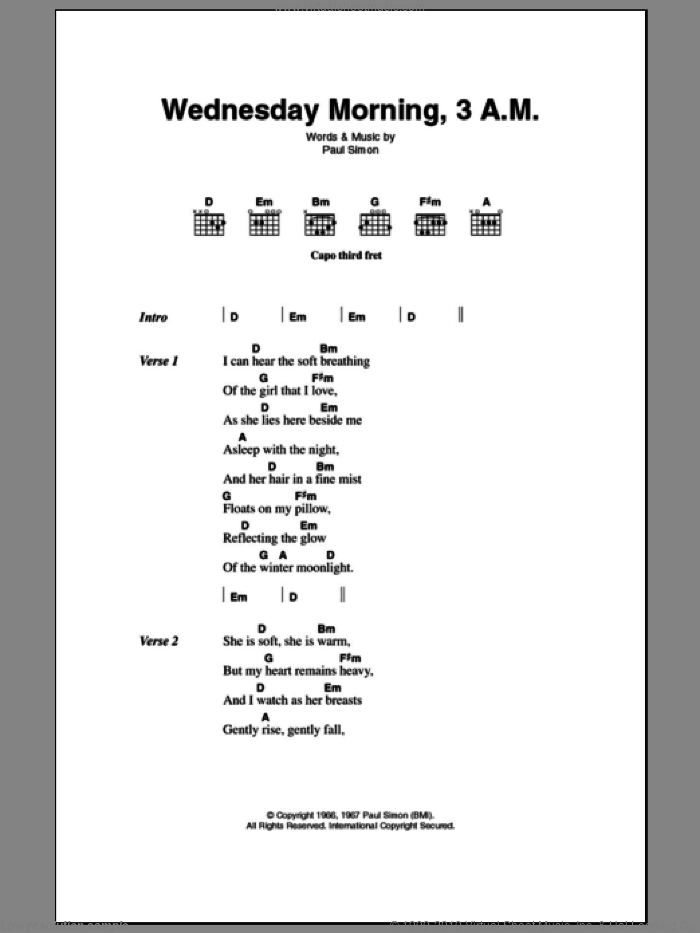Wednesday Morning, 3 A.M. sheet music for guitar (chords) by Paul Simon and Simon & Garfunkel. Score Image Preview.