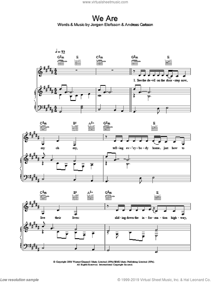 We Are sheet music for voice, piano or guitar by Ana Johnsson, intermediate. Score Image Preview.