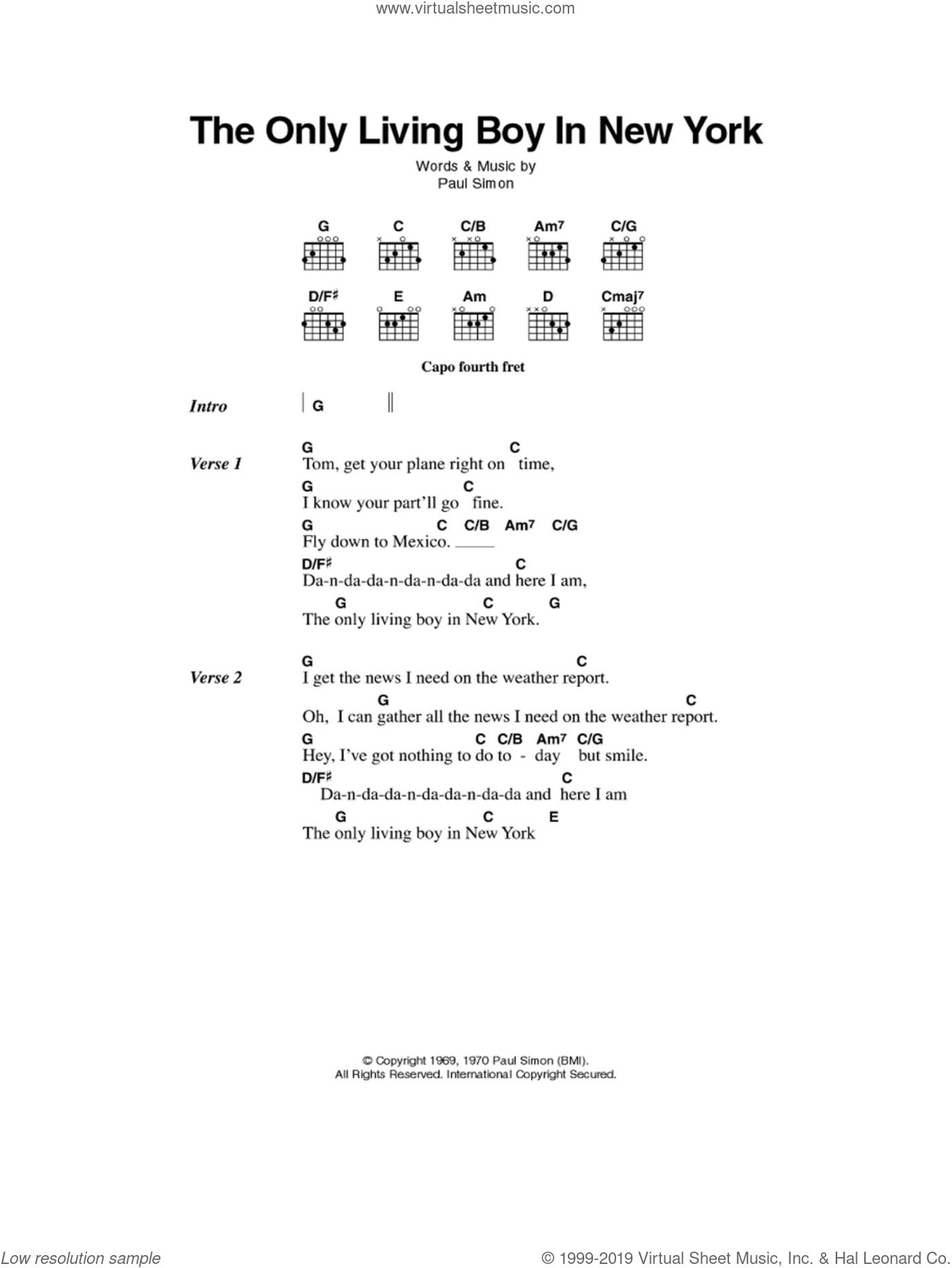 The Only Living Boy In New York sheet music for guitar (chords) by Simon & Garfunkel and Paul Simon. Score Image Preview.