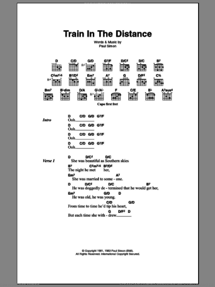 Train In The Distance sheet music for guitar (chords) by Paul Simon, intermediate. Score Image Preview.
