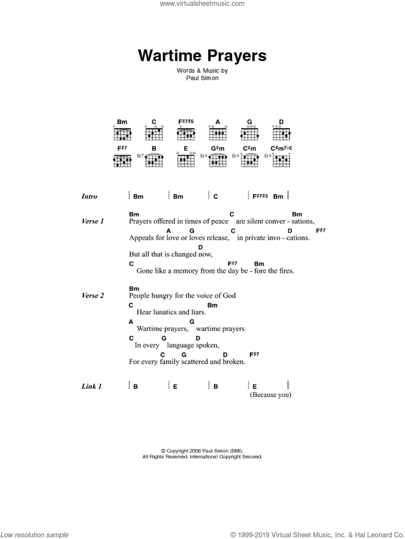 Wartime Prayers sheet music for guitar (chords) by Paul Simon