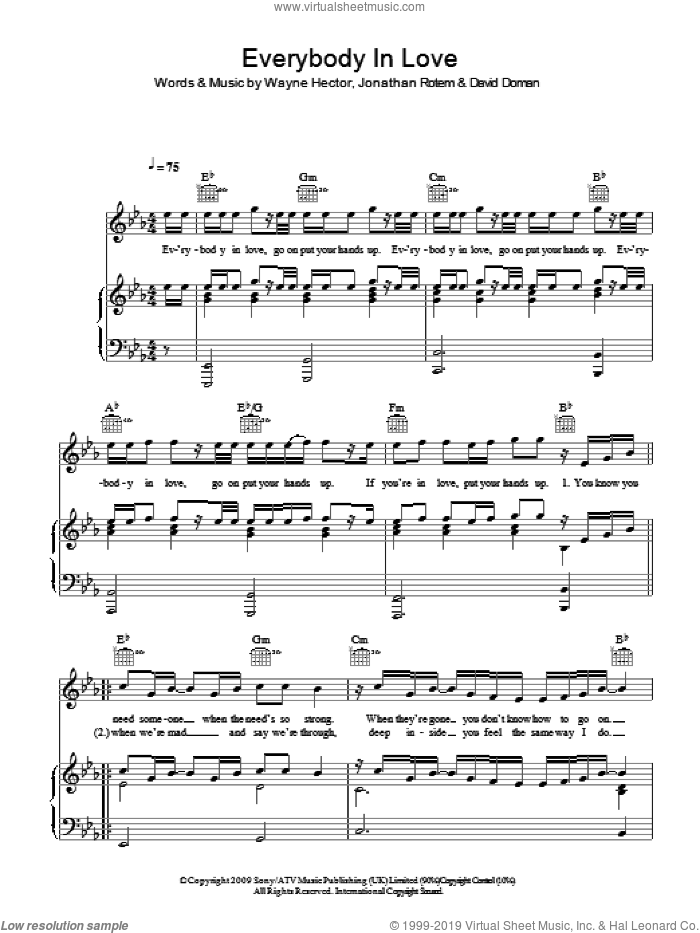 Everybody In Love sheet music for voice, piano or guitar by JLS, Jonathan Rotem and Wayne Hector. Score Image Preview.