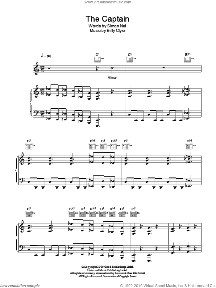 The Captain sheet music for voice, piano or guitar by Simon Neil. Score Image Preview.