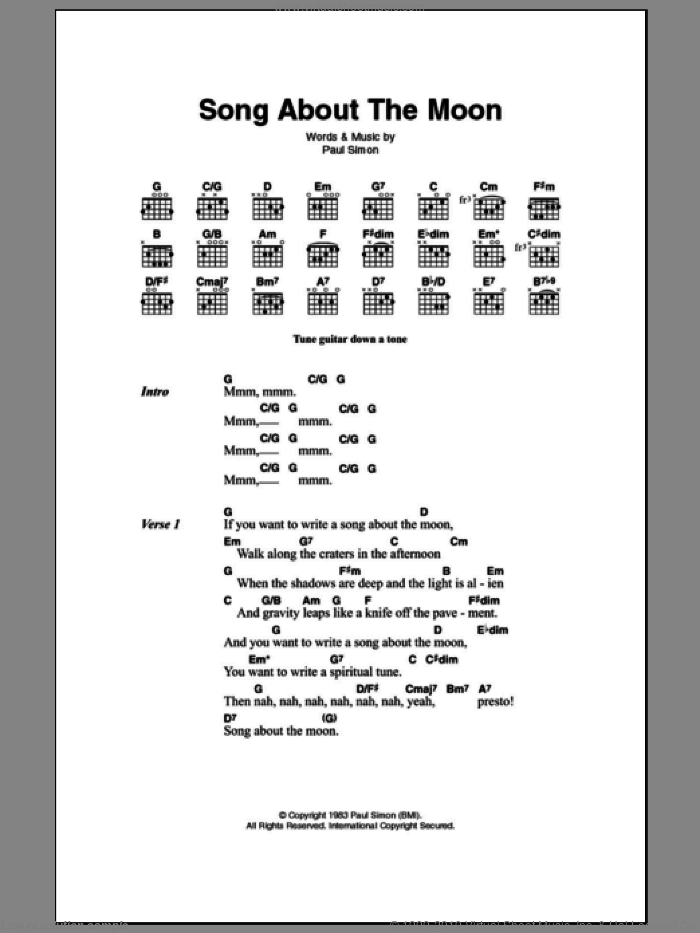 Song About The Moon sheet music for guitar (chords) by Paul Simon, intermediate skill level