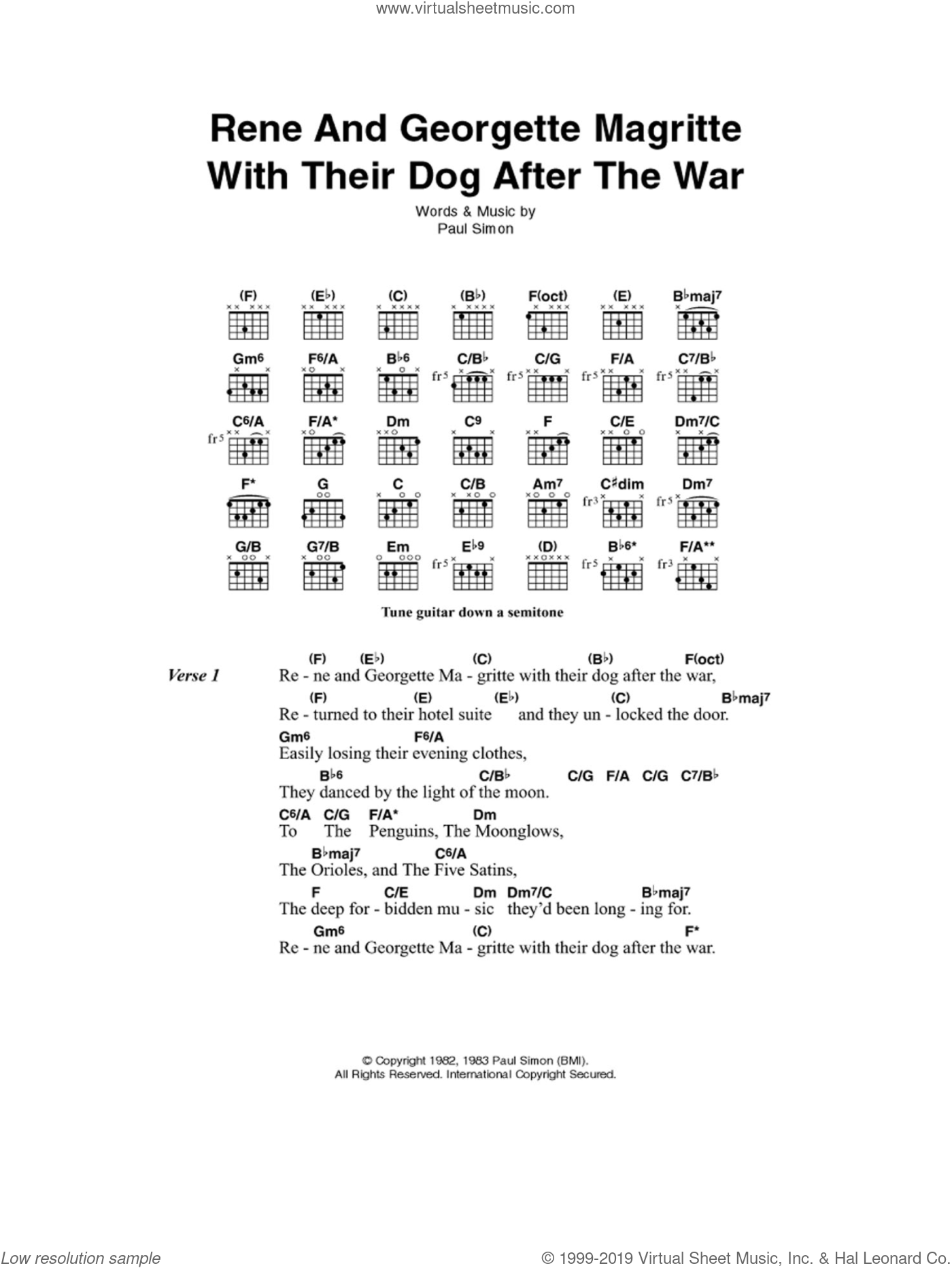 Rene And Georgette Magritte With Their Dog After The War sheet music for guitar (chords) by Paul Simon. Score Image Preview.