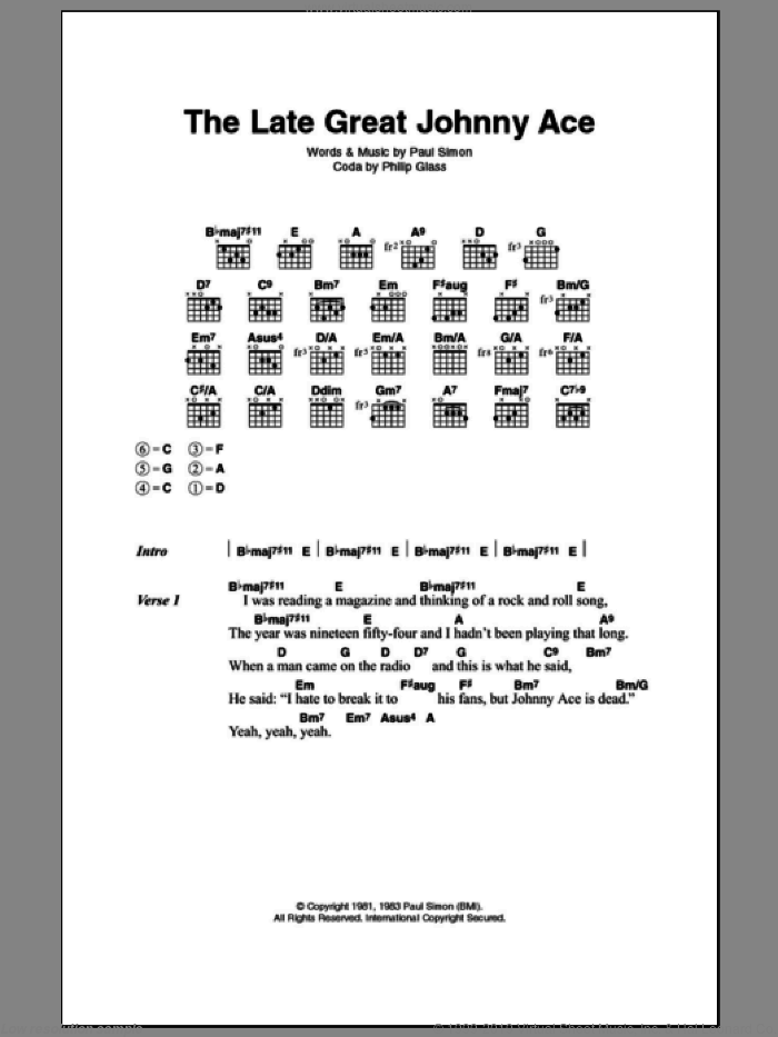 The Late Great Johnny Ace sheet music for guitar (chords) by Paul Simon and Philip Glass, intermediate. Score Image Preview.