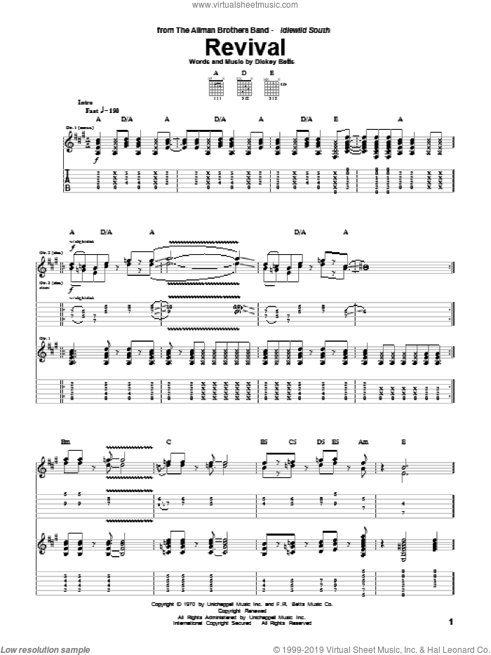 Revival sheet music for guitar (tablature) by Allman Brothers Band and Dickey Betts. Score Image Preview.