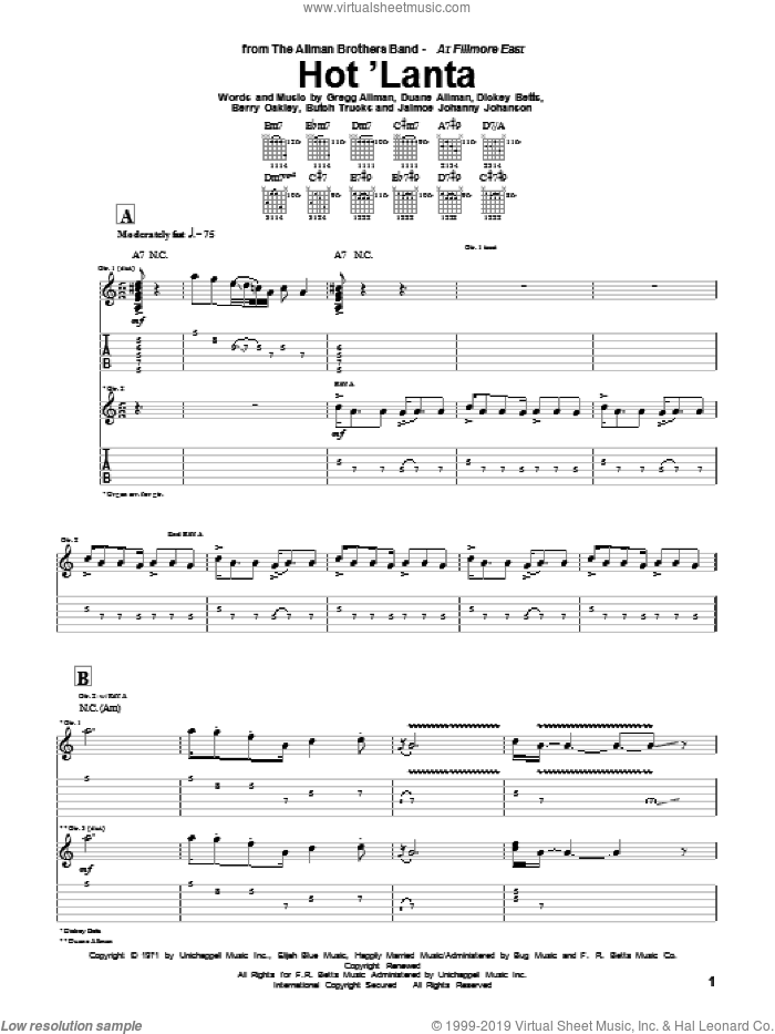 Hot 'Lanta sheet music for guitar (tablature) by Allman Brothers Band, The Allman Brothers Band, Berry Oakley, Butch Trucks, Dickey Betts, Gregg Allman and Jaimoe Johanny Johanson, intermediate skill level