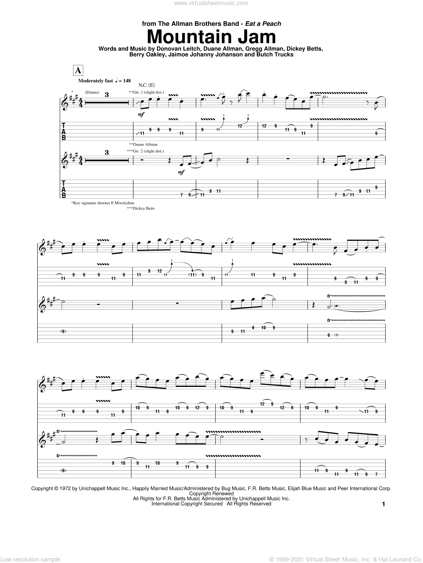 Mountain Jam sheet music for guitar (tablature) by Allman Brothers Band, The Allman Brothers Band, Dickey Betts, Duane Allman and Gregg Allman, intermediate