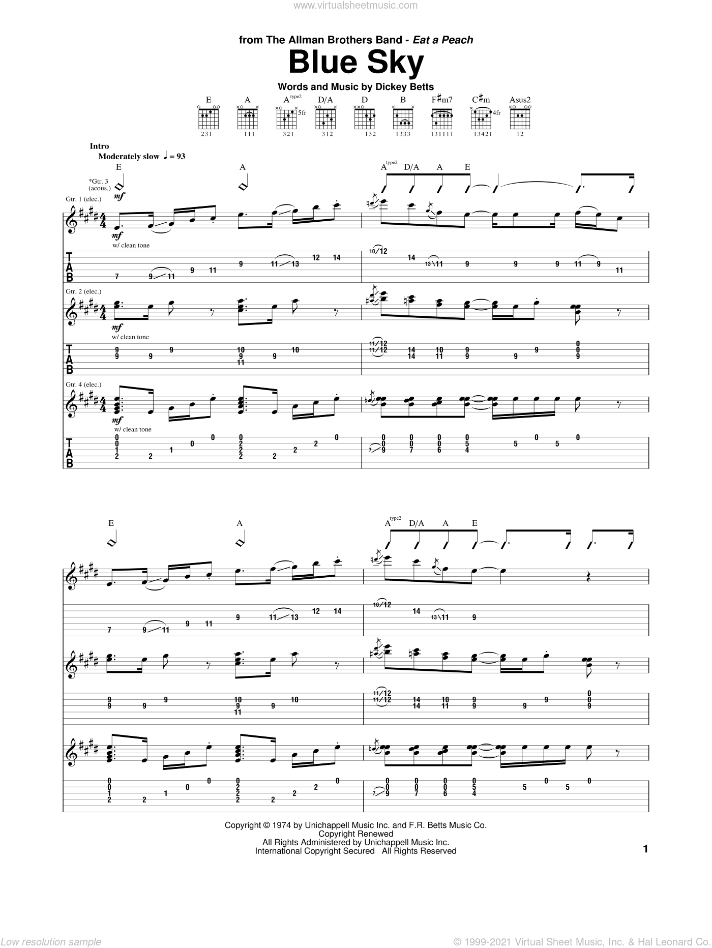Blue Sky sheet music for guitar (tablature) by Allman Brothers Band, The Allman Brothers Band and Dickey Betts, intermediate skill level