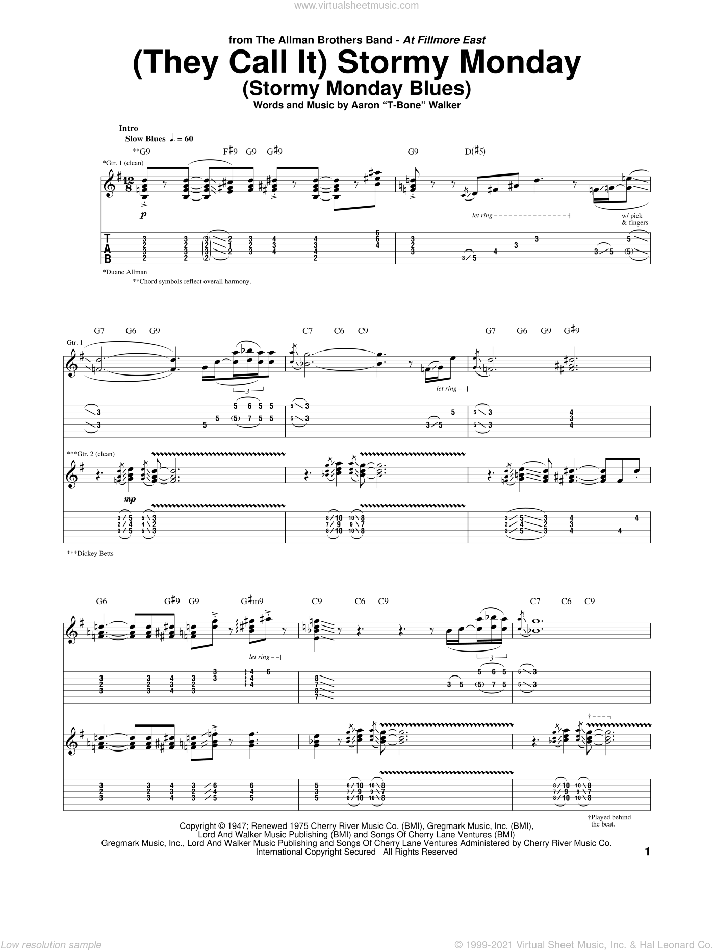(They Call It) Stormy Monday (Stormy Monday Blues) sheet music for guitar (tablature) by Allman Brothers Band, The Allman Brothers Band and Aaron 'T-Bone' Walker, intermediate skill level