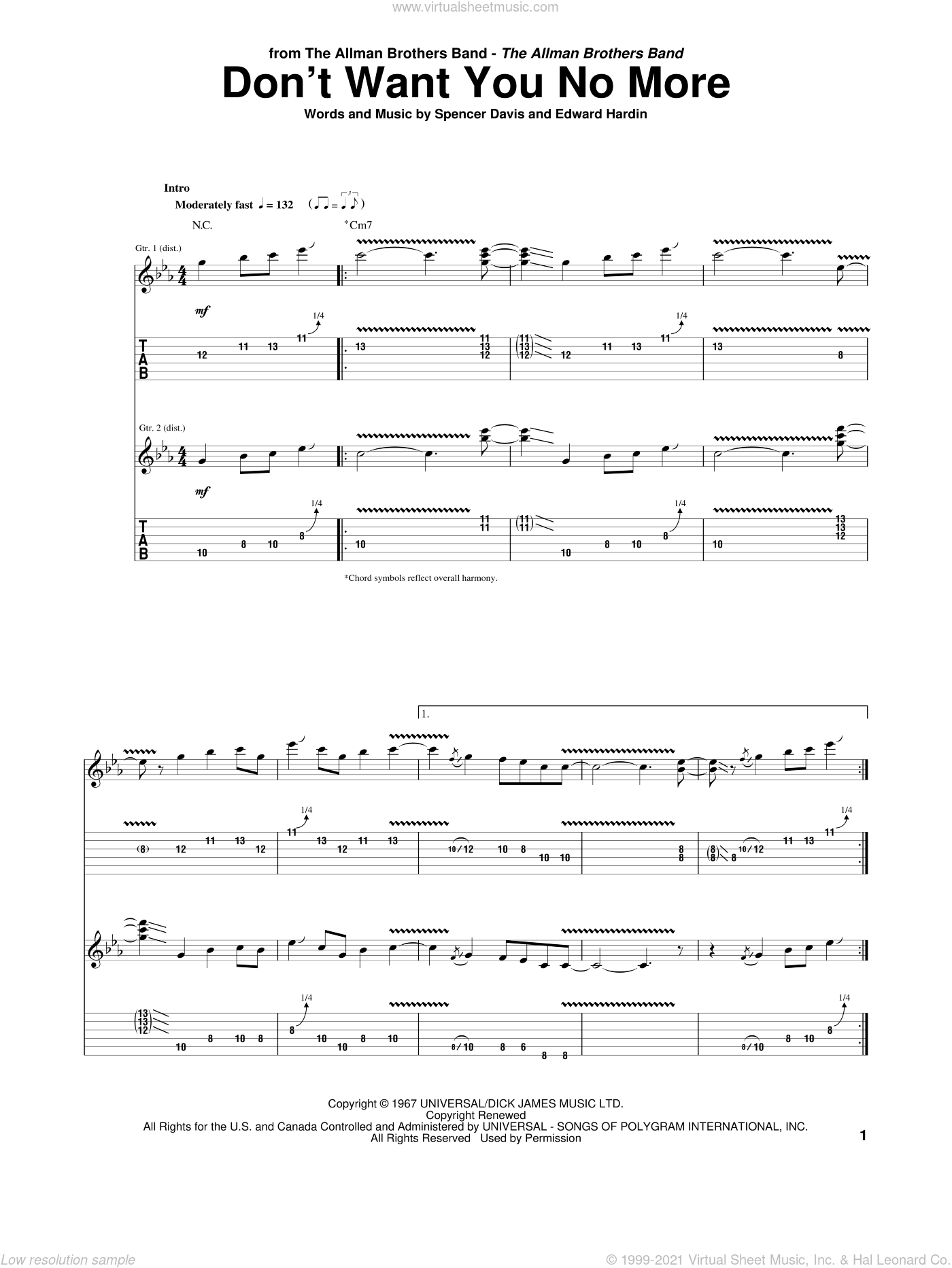 Don't Want You No More sheet music for guitar (tablature) by Allman Brothers Band and Spencer Davis. Score Image Preview.