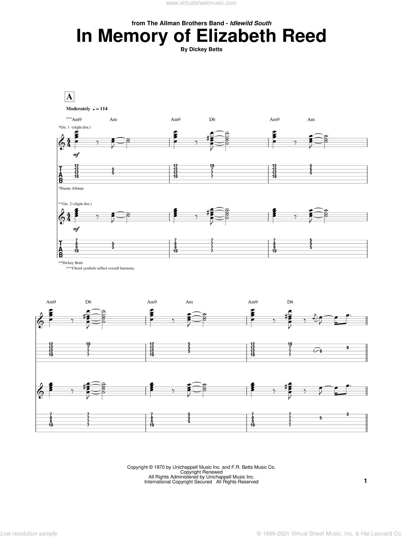 In Memory Of Elizabeth Reed sheet music for guitar (tablature) by Allman Brothers Band, The Allman Brothers Band and Dickey Betts, intermediate. Score Image Preview.