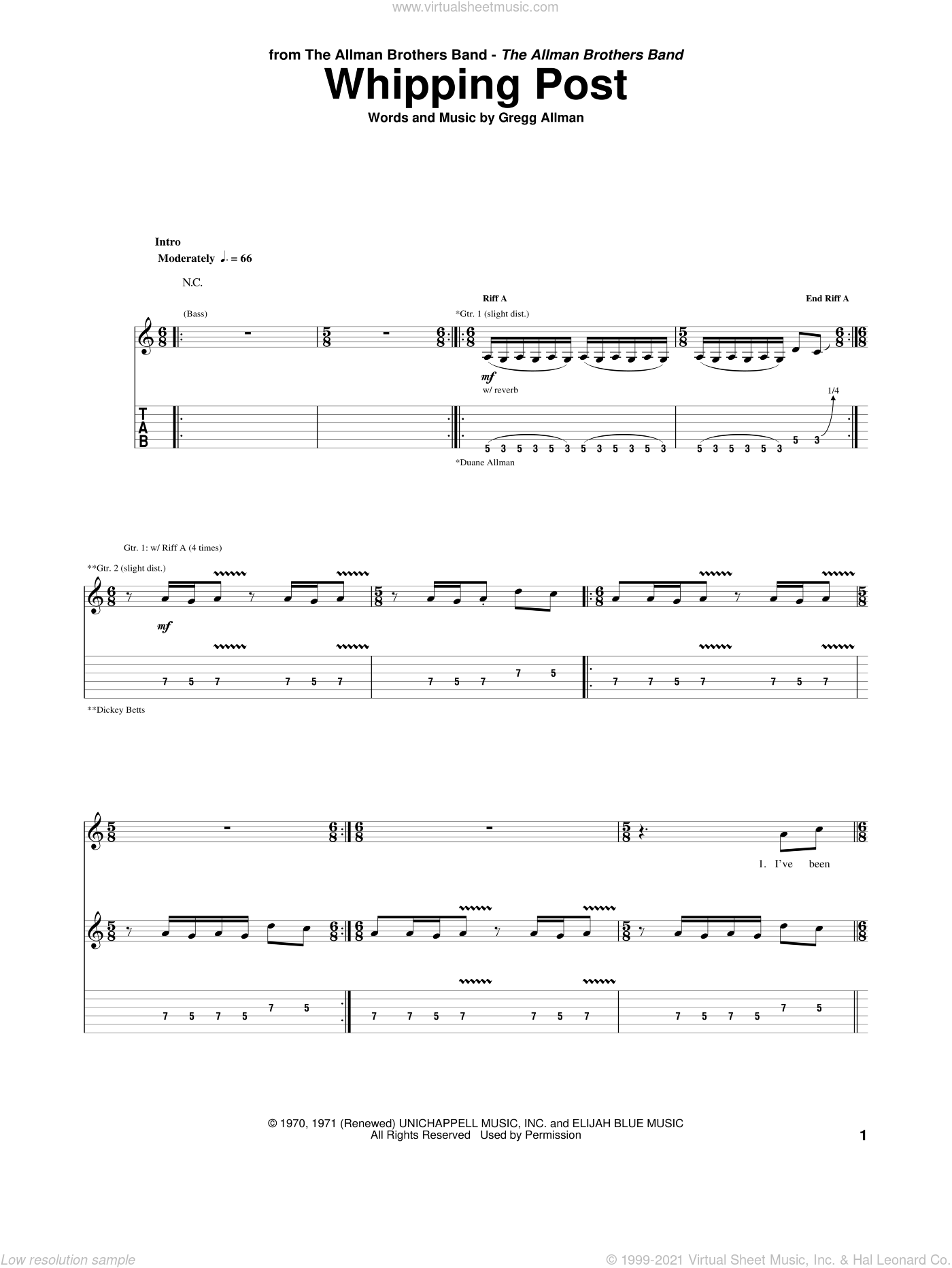 Whipping Post sheet music for guitar (tablature) by Allman Brothers Band, The Allman Brothers Band and Gregg Allman, intermediate skill level