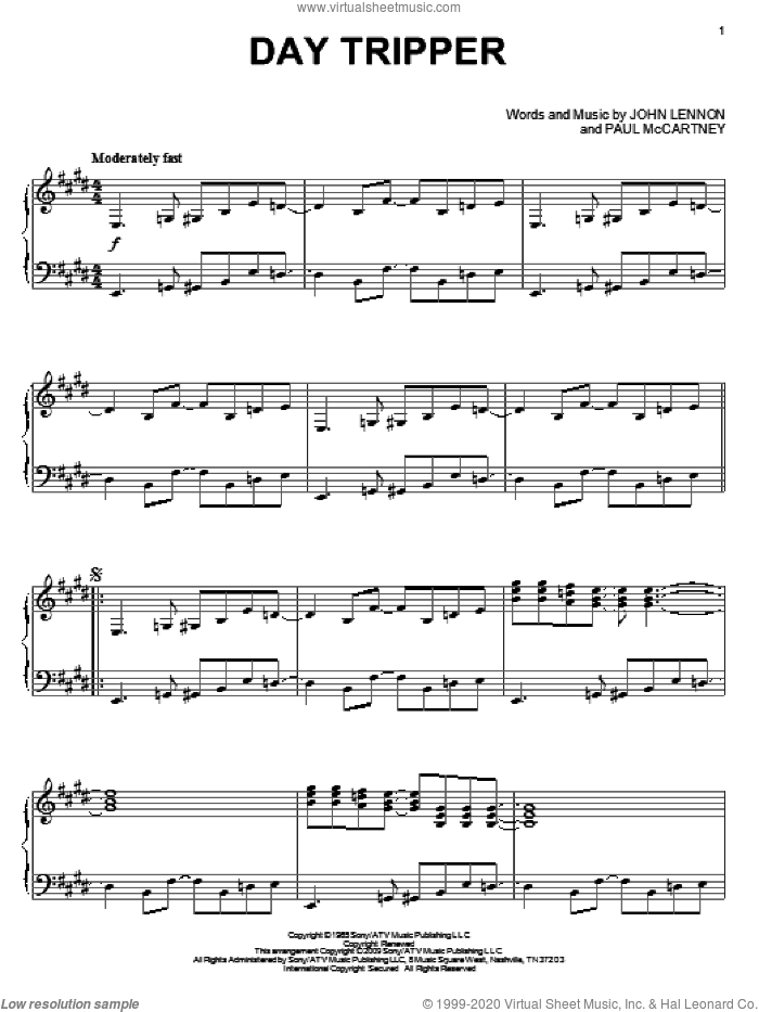 Day Tripper, (intermediate) sheet music for piano solo by The Beatles, John Lennon and Paul McCartney, intermediate skill level