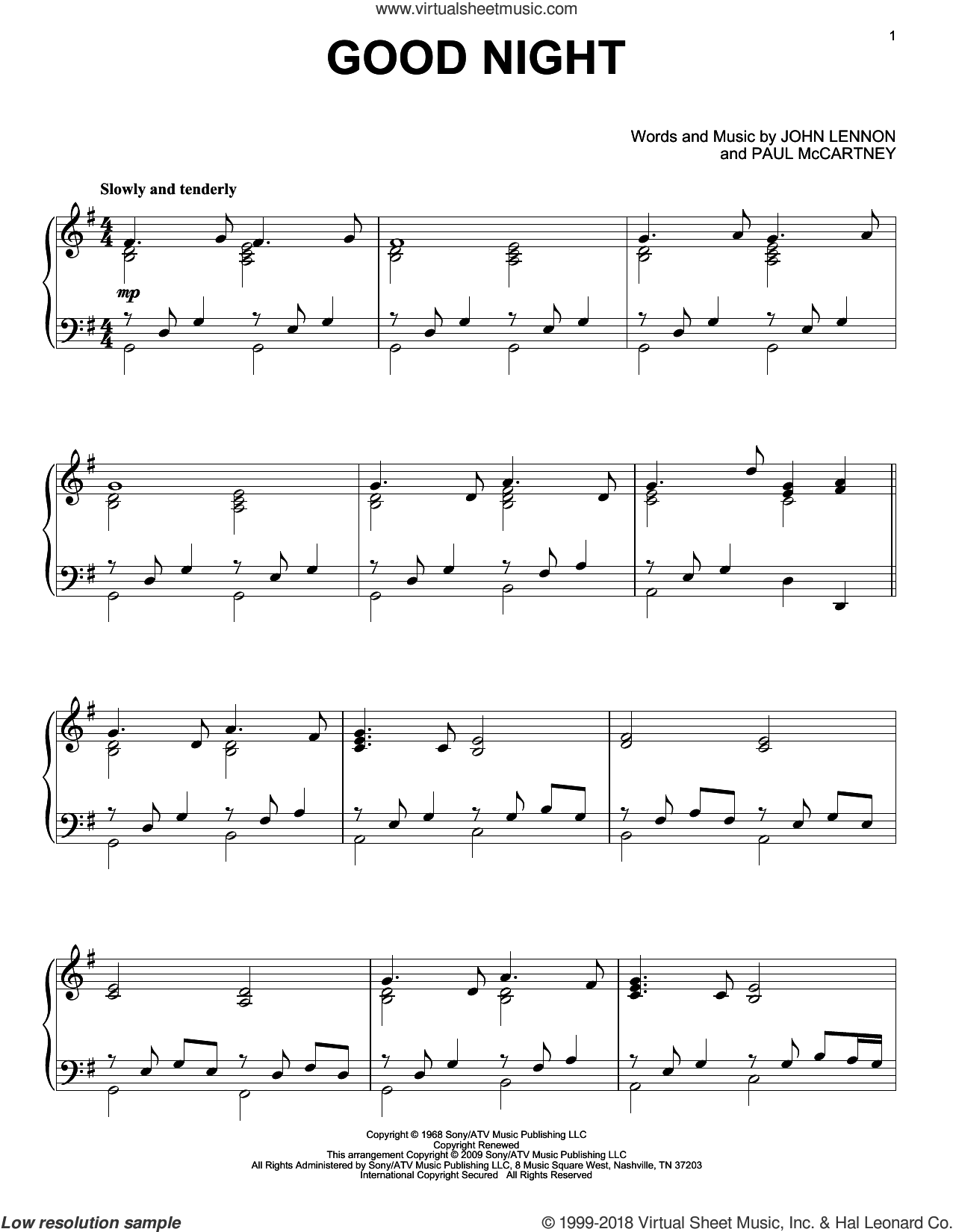 Good Night sheet music for piano solo by The Beatles, John Lennon and Paul McCartney, intermediate skill level