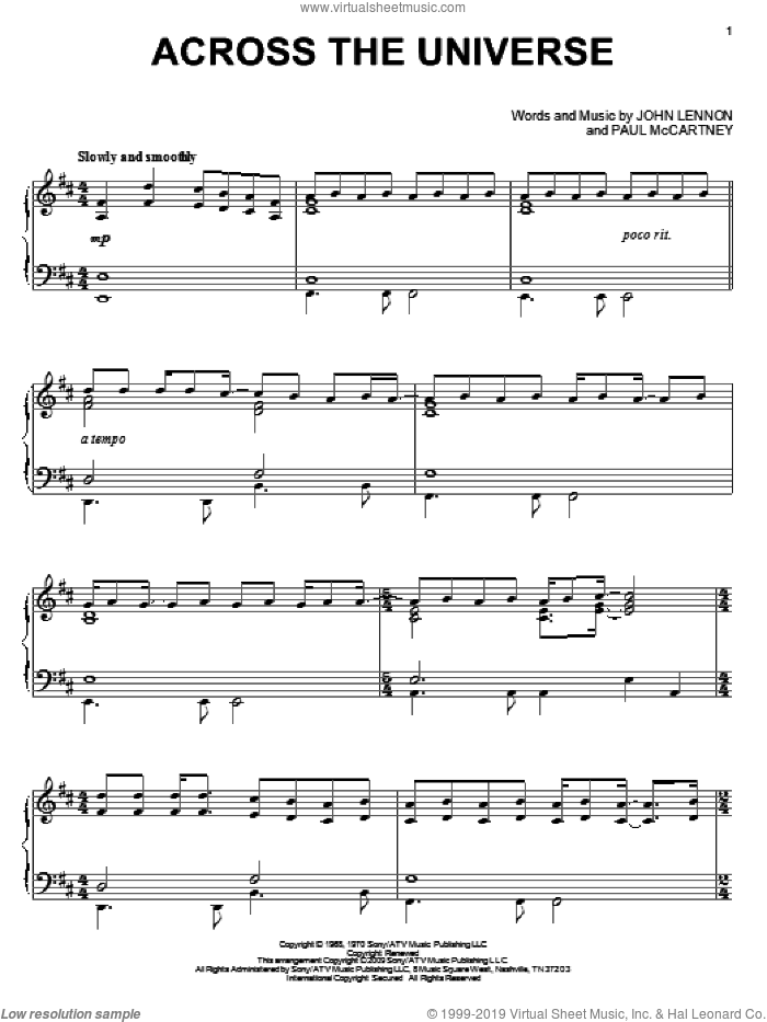 Across The Universe, (intermediate) sheet music for piano solo by The Beatles, John Lennon and Paul McCartney, intermediate skill level