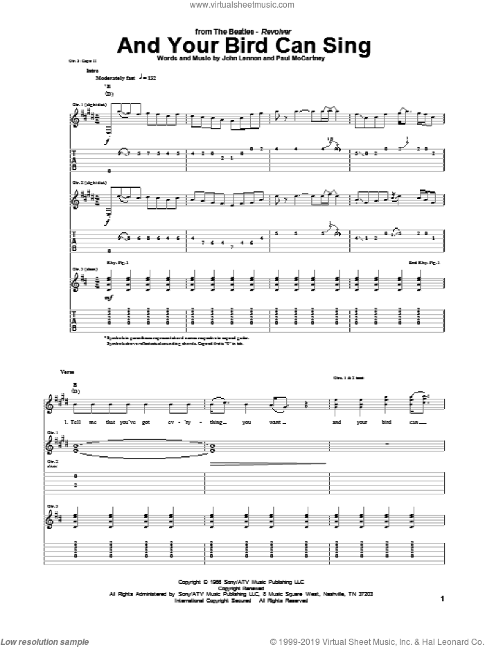 And Your Bird Can Sing sheet music for guitar (tablature) by The Beatles, John Lennon and Paul McCartney, intermediate